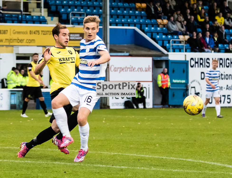 Livingston's Scott Pittman fails to stop Morton's Bobby Barr during the Greenock Morton FC V Livingston FC Ladbrokes Scottish Championship game played at Cappielow Park, Greenock on 7th November 2015; (c) BERNIE CLARK | SportPix.org.uk