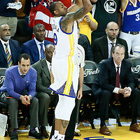 04 June 2017: Golden State Warriors forward Andre Iguodala (9) takes a jump shot during the Golden State Warriors 132-113 victory over the Cleveland Cavaliers, in game 2 of the 2017 NBA Finals, at the Oracle Arena, Oakland, California, USA.