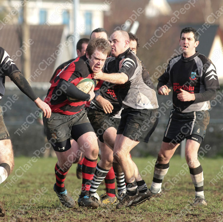 Ennis RFC Shane O'Connor &amp; Scarriff RFC Tom Cronin in action during their Game played in showgrounds Ennis Co.Clare..<br /> Picture Credit  Brian Gavin Press 22