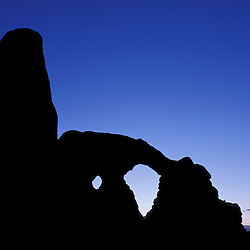 Arches National Park, UT.Turret Arch after dark.
