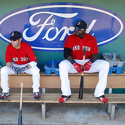 March 7, 2011; Fort Myers, FL, USA; Boston Red Sox second baseman Dustin Pedroia (15) and first baseman David Ortiz (34) sit in the dugout before a spring training exhibition game against the Baltimore Orioles at City of Palms Park.   Mandatory Credit: Derick E. Hingle