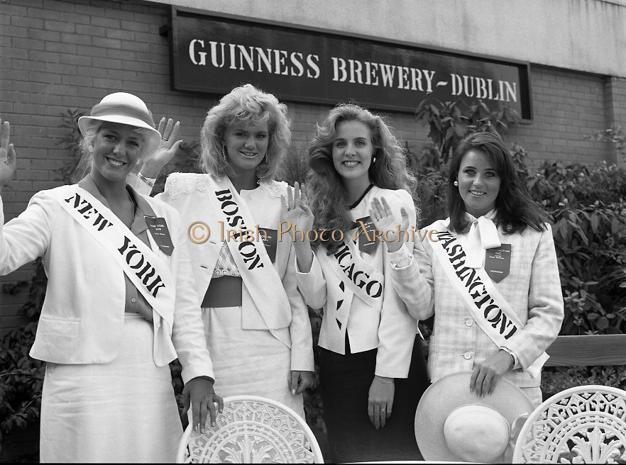 Roses of Tralee at Guinness Brewery..1986.20.08.1986..08.20.1986..20th August 1986..As part of the 50th running of the Rose Of Tralee Festival the thirty Rose contestants were invited to The Guinness Brewery,St James's Gate,Dublin. At the reception in their honour, Mr Pat Healy,Sales Director,Guinness Group Sales,welcomed the roses at the Guinness Reception Centre..Extra: Ms Noreen Cassidy,representing Leeds,went on to win the title of 'Rose Of Tralee'...The U.S.east coast was well represented with 'Roses' from New York,boston,Chicago and Washington.