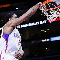 08 December 2014: Los Angeles Clippers center DeAndre Jordan (6) dunks the ball during the Los Angeles Clippers 121-120 overtime victory over the Phoenix Suns, at the Staples Center, Los Angeles, California, USA.