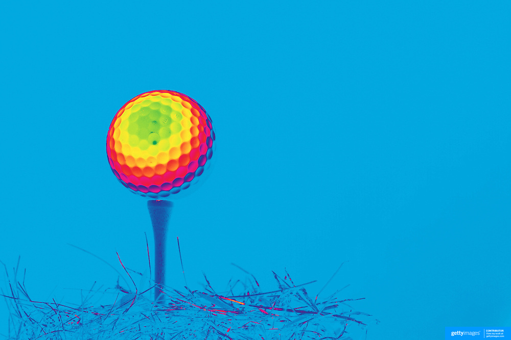 An artistic studio shot of a Golf Ball on a tee. 20th October 2012. Photo Tim Clayton