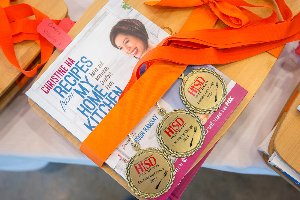 Prizes for the participants in the Cooking for Change challenge at Rice University, April 12, 2014.