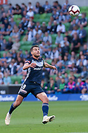 SYDNEY, NSW - JANUARY 12: Melbourne Victory forward Kosta Barbarouses (9) focuses his eye on the ball at the Hyundai A-League Round 13 soccer match between Melbourne Victory and Newcastle Jets at AAMI Park in VIC, Australia 12 January 2019. (Photo by Speed Media/Icon Sportswire)