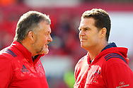 Rassie Erasmus and Nial O'Donovan of Munster during the European Rugby Champions Cup match at Thomond Park, Limerick<br /> Picture by Yannis Halas/Focus Images Ltd +353 8725 82019<br /> 01/04/2017