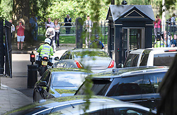 © Licensed to London News Pictures. 24/05/2019. London, UK. A car carrying British Prime Minister THERESA MAY is seen leaving Downing Street in Westminster, London after she delivered a statement announcing her resignation. The Prime Minister was under huge pressure to quit over her handing of negotiations for the UK's exit from the European Union. Photo credit: Ben Cawthra/LNP