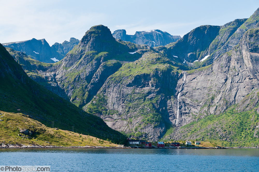 Steep mountains were carved in the Glacial Ages on Moskenesøya (the Moskenes Island) above Reinefjord in the Lofoten archipelago, Nordland county, Norway.