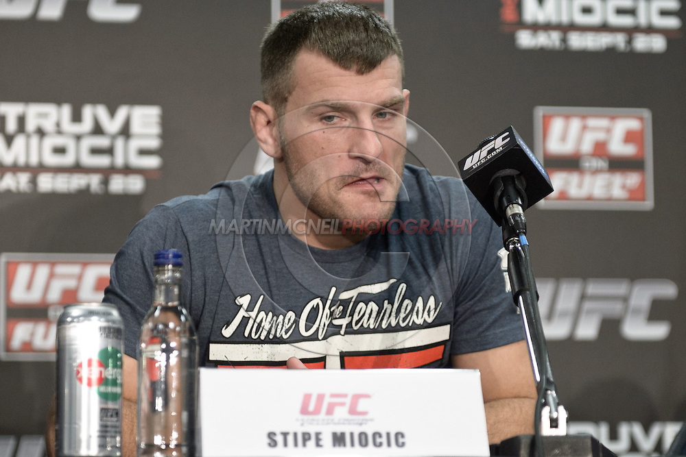 "NOTTINGHAM, ENGLAND, SEPTEMBER 27, 2012: Stipe Miocic is pictured during the pre-fight press conference for ""UFC on Fuel TV: Struve vs. Miocic"" inside the Hilton Hotel in Nottingham , United Kingdom on Thursday, Septermber 27, 2012"