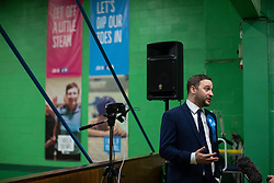 © Licensed to London News Pictures . 13/12/2019. Bury, UK. Conservative Party winner in Bury South CHRISTIAN WAKEFIELD is interviewed after his victory , at the count for seats in the constituencies of Bury North and Bury South in the 2019 UK General Election , at Castle Leisure Centre in Bury . Photo credit: Joel Goodman/LNP