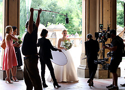 """Kristen Bell is a bride and wears a wedding dress while shooting scenes for her upcoming project """"Like Father"""" filming in Manhattan's Central Park. 28 Aug 2017 Pictured: Kristen Bell. Photo credit: LRNYC / MEGA TheMegaAgency.com +1 888 505 6342"""
