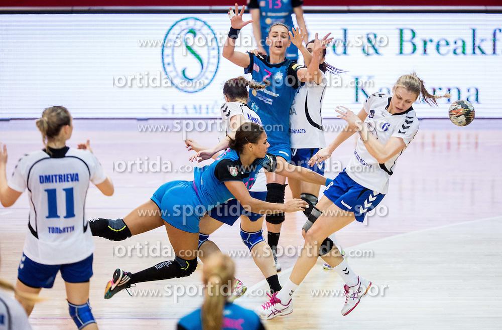Elizabeth Omoregie of Krim vs Irina Bliznova of Lada during 2nd Leg handball match between RK Krim Mercator and HC Lada Togliatti (RUS) in Semifinal of Women Cup Winners' Cup 2015/16, on April 9, 2016 in Arena Kodeljevo, Ljubljana, Slovenia. Photo by Vid Ponikvar / Sportida
