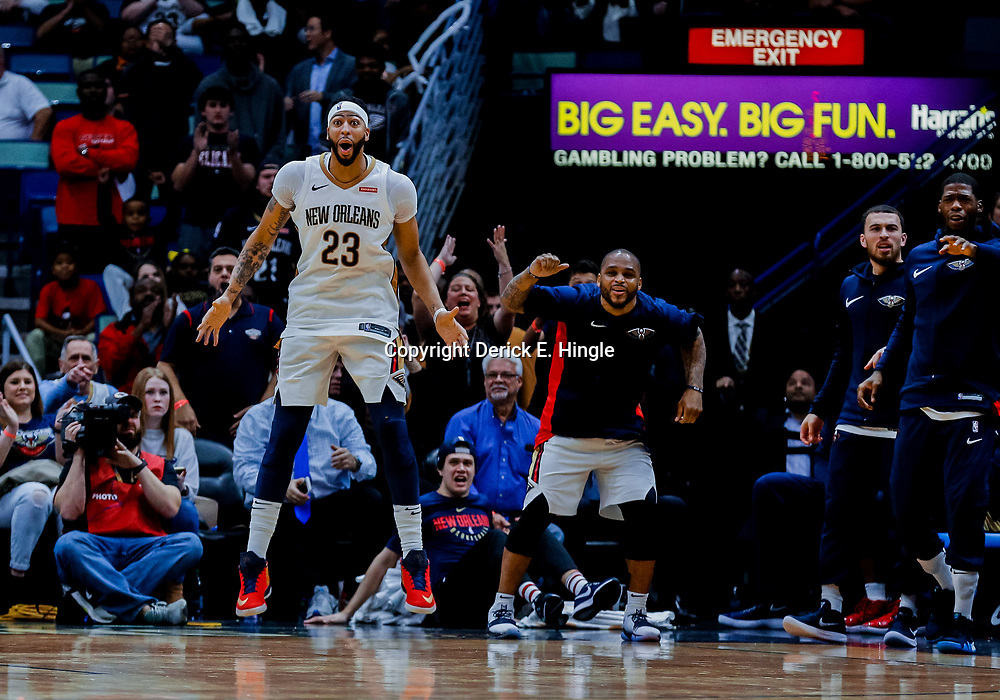 Jan 22, 2018; New Orleans, LA, USA; New Orleans Pelicans forward Anthony Davis (23) reacts from the bench during double overtime after fouling out in the first overtime against the Chicago Bulls at the Smoothie King Center. The Pelicans defeated the Bulls 132-128 in double overtime. Mandatory Credit: Derick E. Hingle-USA TODAY Sports
