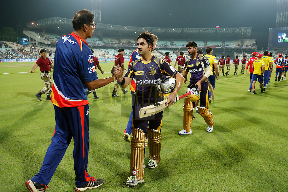 Gautam Gambhir captain of the Kolkata Knight Riders and Manish Pandey of the Kolkata Knight Riders after the  match 2 of the Vivo Indian Premier League ( IPL ) 2016 between the Kolkata Knight Riders and the Delhi Daredevils held at the Eden Gardens Stadium in Kolkata on the 10th April 2016<br /> <br /> Photo by Deepak Malik/ IPL/ SPORTZPICS