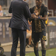 Philadelphia Union Manager JIM CURTIN and Philadelphia Union Midfielder MARCUS EPPS (20) exchange words on the sideline in the second half of a Major League Soccer match between the Philadelphia Union and Columbus Crew SC Wednesday, July. 26, 2017, at Talen Energy Stadium in Chester, PA.