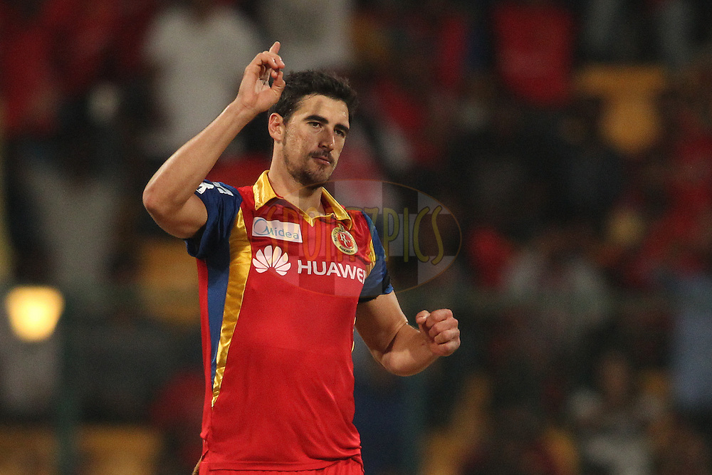 Mitchell Starc of the Royal Challengers Bangalore celebrates bowling Anureet Singh of Kings XI Punjab during match 40 of the Pepsi IPL 2015 (Indian Premier League) between The Royal Challengers Bangalore and The Kings XI Punjab held at the M. Chinnaswamy Stadium in Bengaluru, India on the 6th May 2015.<br /> <br /> Photo by:  Shaun Roy / SPORTZPICS / IPL