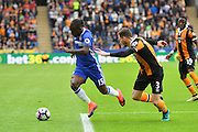 Chelsea midfielder Victor Moses (15) and Hull City defender Andrew Robertson (3) during the Premier League match between Hull City and Chelsea at the KCOM Stadium, Kingston upon Hull, England on 1 October 2016. Photo by Ian Lyall.