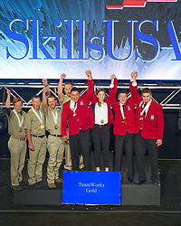 The 2017 SkillsUSA National Leadership and Skills Conference Competition Medalists were announced Friday, June 23, 2017 at Freedom Hall in Louisville. <br /> <br /> TeamWorks<br /> <br /> Team F (consisting of Andres Zapata, Chloe Bush, Joseph Herman, Allan Harlow)<br />   High School Belton High School<br />   Gold Belton, TX<br /> TeamWorksTeam N (consisting of Austin McClimans, Nolan Weaver, Jared Kaiser, Wyatt Cook)<br />   High School Vanguard-Sentinel CTC-Sentinel Campus<br />   Silver Tiffin, OH<br /> TeamWorksTeam A (consisting of Carter Arrington, Hamilton Noggle, Jason Burdette, Jarrod Rollins)<br />   High School Adairsville High School<br />   Bronze Adairsville, GA<br /> TeamWorksTeam B (consisting of Aaron Brumfield, Ben Hull, Seth Johnson, Ross Green)<br />   College Salt Lake Community College<br />   Gold Salt Lake City, UT<br /> TeamWorksTeam H (consisting of Jason Wells, Federico Pantoja, Marco Luna, Yamill Perez)<br />   College Los Angeles Trade Tech College<br />   Silver Los Angeles, CA<br /> TeamWorksTeam F (consisting of Joseph Brubaker, Tony DiBucci, Philip Kneller, Aaron White)<br />   College Penn College of Tech<br />   Bronze Williamsport, PA