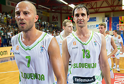 Nebojsa Joksimovic of Slovenia, Domen Lorbek of Slovenia after the friendly match between National teams of Slovenia and Ukraine for Eurobasket 2013 on July 26, 2013 in Dvorana Komunalnega centra, Domzale, Slovenia. Slovenia defeated Ukraine 74-46. (Photo by Vid Ponikvar / Sportida.com)