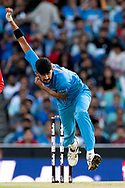 SYDNEY - NOVEMBER 25: Indian player Krunal Pandya bowls at the International Gillette T20 cricket match between Australia and India at The Sydney Cricket Ground in NSW on November 25, 2018. (Photo by Speed Media/Icon Sportswire)