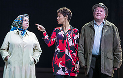 Chronicling Jackie Kay's 20-year search for her biological mother and father and her quest for them to recognise her own existence. <br /> <br /> National Theatre of Scotland's Red Dust Road is adapted from the soul-searching memoir by Jackie Kay, poet, playwright, novelist and Scottish Makar. It's a journey full of heart, humour and profound emotion, exploring race, identity and family secrets, with a deeply human curiosity and compassion.<br /> <br /> Red Dust Road is adapted for the stage by Tanika Gupta, winner of last year's James Tait Black Prize for her drama Lions and Tigers. Completing the creative trio is Dawn Walton, director of the acclaimed salt. by Selina Thompson.<br /> <br /> Red Dust Road is at the Edinburgh International Festival from 14 - 18 August<br /> <br /> Pictured L to R: Elaine C Smith, Sasha Frost, Lewis Howden