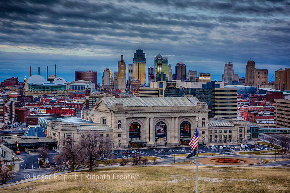Union Station and Kansas City Missouri Skyline winter