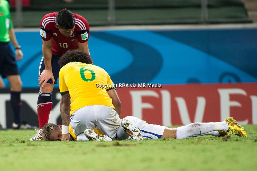 Neymar da Silva Santos Junior (Brazil)           ; <br /> July 04; 2014 - Football : Fifa World Cup Brazil  2014; Match 57; final match between Brazil 2-1 Colombia  at<br /> Estadio Castelao; Fortaleza, Brazil.;  accident ;( photo by aicfoto)(ITALY) [0855]