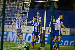 WIGAN, ENGLAND - Monday, February 19, 2018: Wigan Athletic's Will Grigg celebrates scoring the winning goal with team-mates during 1-0 victory in the FA Cup 5th Round match between Wigan Athletic FC and Manchester City FC at the DW Stadium. (Pic by David Rawcliffe/Propaganda)