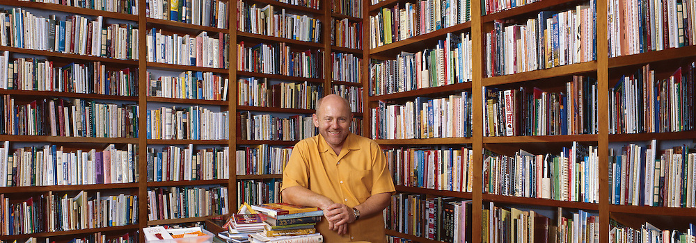 Chef Mark Miller in his private library, Santa Fe, New Mexico