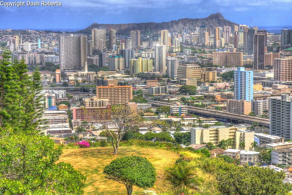 HDR photo of downtown Honolulu with Diamond Head Crater in background taken from Punch Bowl Crater.