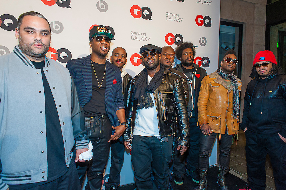 The Roots posing at the GQ & Lebron James NBA All Star Style party sponsored by Samsung Galaxy on Saturday, February 15, 2014, at the Ogden Museum of Southern Art in New Orleans, Louisiana with live jam session from grammy Award-winning Artist The Roots. Photo Credit: Gustavo Escanelle / Retna Ltd.