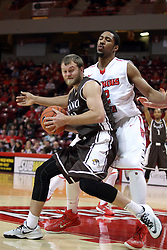 29 December 2014:  Evan McGaughey, Will Ransom during an NCAA non-conference interdivisional exhibition game between the Quincy University Hawks and the Illinois State University Redbirds at Redbird Arena in Normal Illinois.