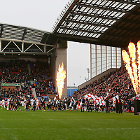 The teams walk out before the Autumn International Series match between England and New Zealand played at DW Stadium on November 14th 2015