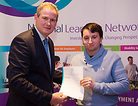 Sean Kyne TD Minister of State for Community Affairs, Natural Resources and Digital Development, presenting certificate to Jason O'Connor QQI level 3 in Word Processing. Photo:Andrew Downes, xposure .