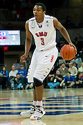 DALLAS, TX - JANUARY 21: Sterling Brown #3 of the SMU Mustangs brings the ball up court against the Rutgers Scarlet Knights on January 21, 2014 at Moody Coliseum in Dallas, Texas.  (Photo by Cooper Neill/Getty Images) *** Local Caption *** Sterling Brown