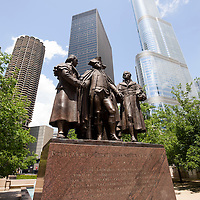 Chicago Heald Square Monument with George Washington, Robert Morris, and Hyam Salomon along Wacker Drive in downtown Chicago.