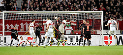 30.12.2015, Mercedes Benz Arena, Stuttgart, GER, 1. FBL, VfB Stuttgart vs Hamburger SV, 19. Runde, im Bild TOR 1:0 Kopfball durch Daniel Didavi VfB Stuttgart // during the German Bundesliga 19th round match between VfB Stuttgart and Hamburger SV at the Mercedes Benz Arena in Stuttgart, Germany on 2015/12/30. EXPA Pictures © 2016, PhotoCredit: EXPA/ Eibner-Pressefoto/ Weber<br /> <br /> *****ATTENTION - OUT of GER*****