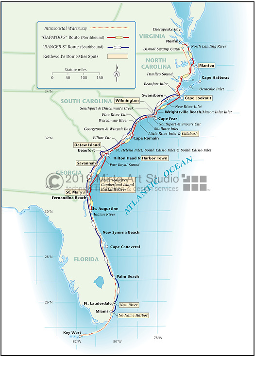 Vector map of USA Intracoastal Waterway