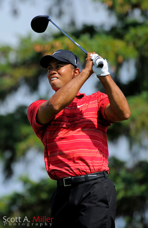 Aug 16, 2009; Chaska, MN, USA; Tiger Woods (USA) hits his tee shot on the 7th hole during the final round of the 2009 PGA Championship at Hazeltine National Golf Club.  ©2009 Scott A. Miller
