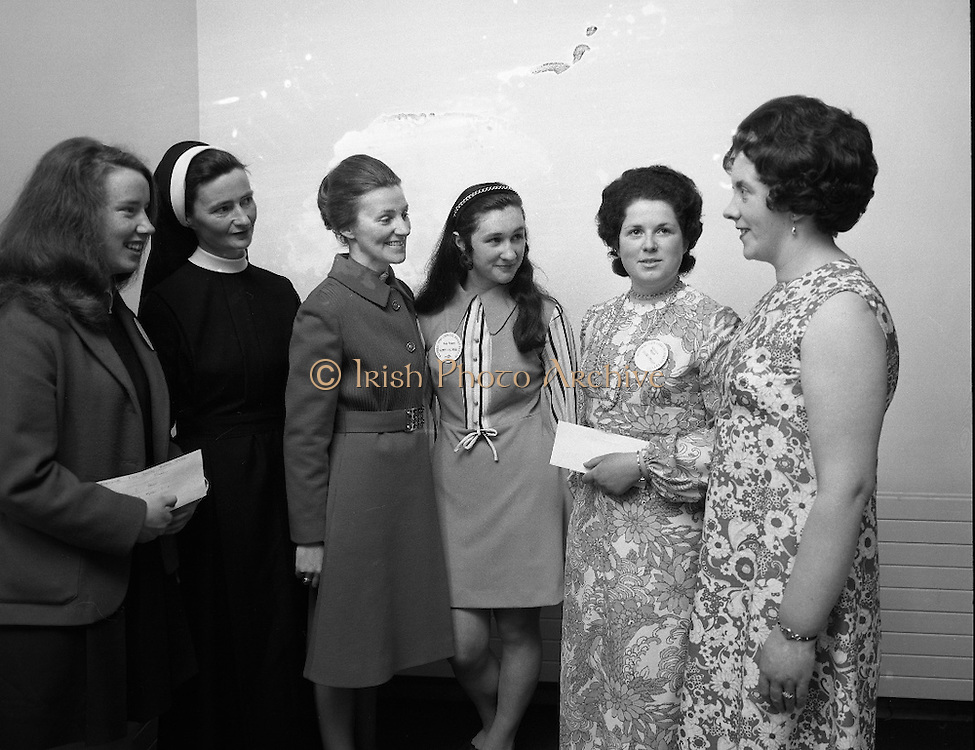 "B.I.M.National Seafood Cook..1972..05.05.1972..05.05.1972..5th May 1972..The final of the ""National Seafood Cook 1972"" was held in the Great Southern Hotel,Killarney,Co Kerry.The winner was Miss Mary Coleman (14 years)from the Vocational School, Claremorris,Co Mayo.The title of the winning dish was ""Amber Ring. She was chosen from 18 regional finalists...Image of (L-R), Maria Geoghan,(3rd),her Domestic Science teacher,Sister Laurence, Ms Helen Curran,Domestic Science teacher for the winner Mary Coleman, Mary Coleman and Celine O""Reilly(2nd) with her Domestic Science teacher Ms Eileen Keegan."