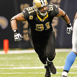December 4, 2011; New Orleans, LA, USA; New Orleans Saints defensive end Will Smith (91) against the Detroit Lions during a game at the Mercedes-Benz Superdome. The Saints defeated the Lions 31-17. Mandatory Credit: Derick E. Hingle-US PRESSWIRE