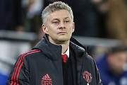 Manchester United interim Manager Ole Gunnar Solskjaer during the Premier League match between Cardiff City and Manchester United at the Cardiff City Stadium, Cardiff, Wales on 22 December 2018.