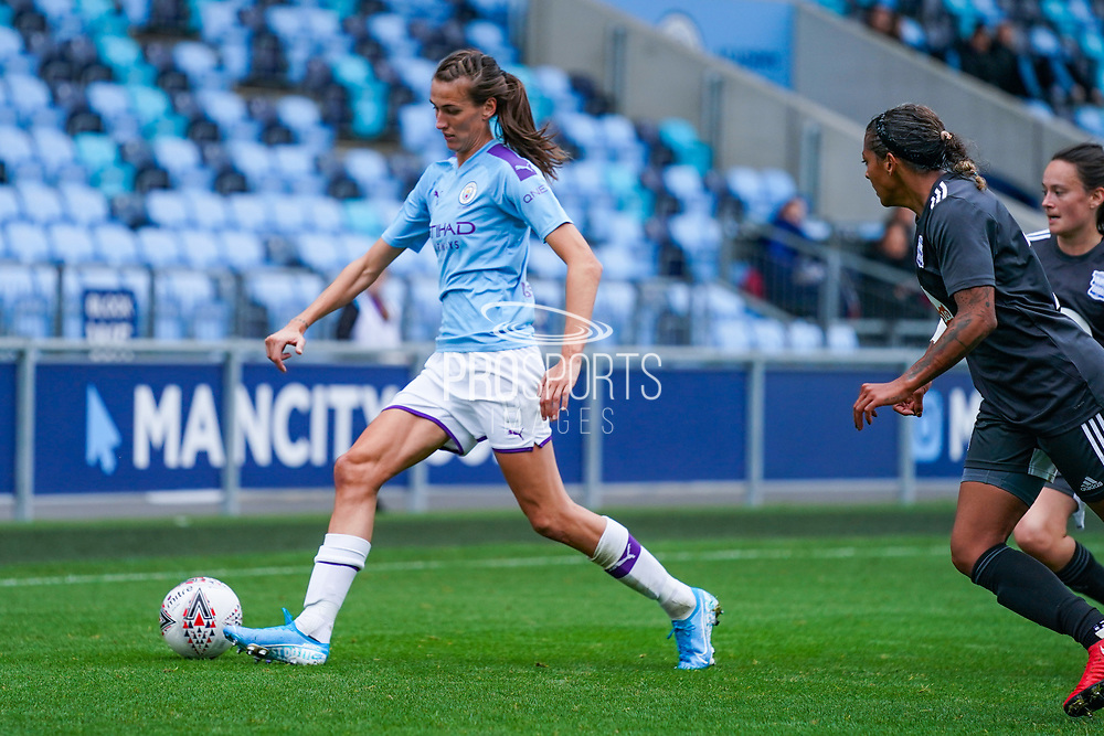 Manchester City Women midfielder Jill Scott (8) passes the ball during the FA Women's Super League match between Manchester City Women and BIrmingham City Women at the Sport City Academy Stadium, Manchester, United Kingdom on 12 October 2019.