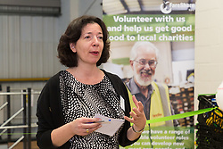 FareShare Commercial Director Alyson Walsh speaks at the opening of FareShare's relocated warehouse in Ashford, Kent. Ashford, Kent, May 23 2019.