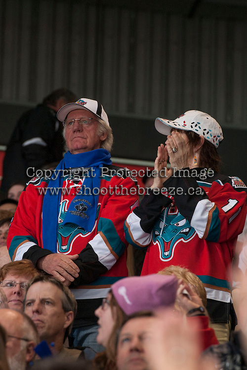 KELOWNA, CANADA - APRIL 5: Kelowna Rockets fans celebrate a goal against the Seattle Thunderbirds on April 5, 2014 during Game 2 of the second round of WHL Playoffs at Prospera Place in Kelowna, British Columbia, Canada.   (Photo by Marissa Baecker/Getty Images)  *** Local Caption *** fans