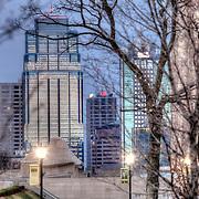 Kansas City MO Skyline from the grounds of Liberty Memorial.