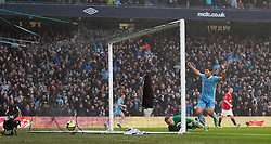 MANCHESTER, ENGLAND - Sunday, January 8, 2012: Manchester City's Sergio Aguero celebrates scoring the second goal against Manchester United during the FA Cup 3rd Round match at the City of Manchester Stadium. (Pic by Vegard Grott/Propaganda)