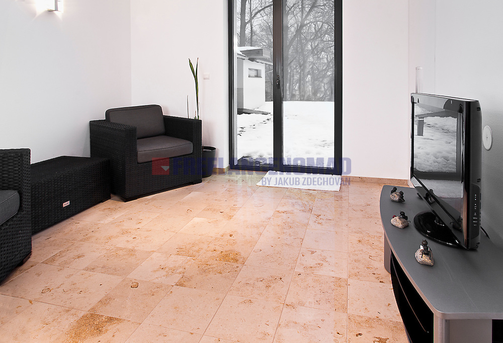 Jura beige marble living room interior flooring project realization