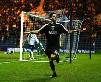 Photo: Paul Greenwood/Sportsbeat Images.<br />Preston North End v Cardiff City. Coca Cola Championship. 29/12/2007.<br />Cardiff's Joe Ledley celebrates after scoring Cardiff's second goal